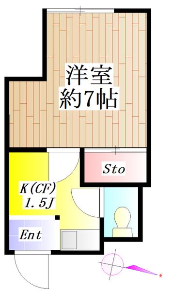 間取図/区画図:礼金0♪洋室 新規リフォーム済♪ 事務所利用可(別途消費税)